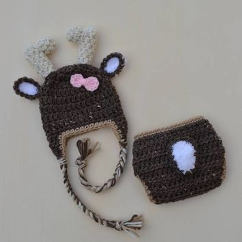 Crochet Deer Hat And Diaper Cover Set Newborn Deer Photo Prop Outfit