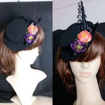 MDIG4F Goth Steampunk Costume Gothic Lolita Black Feathers Flower Mini Top Hat