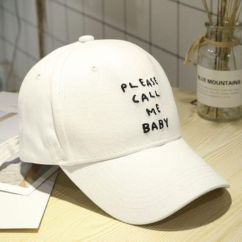 Please Call Me Baby Embroidery Cute, Graphic, Cool Baseball Cap Snapback Hat
