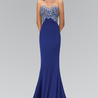 Lace Embellished Strapless Floor Length Dress Fabric:Lace, RomeJersey GL1367