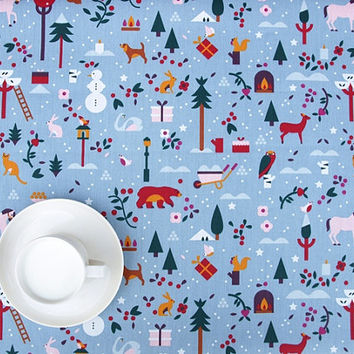 Christmas Tablecloth sky blue Modern Kids design Winter Scandinavian Design , runner , napkins , curtains , pillows available, great GIFT
