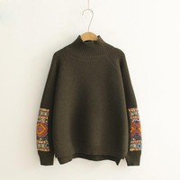 Patchwork Turtleneck Sweater (5 Colors)