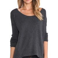Central Park West Luxe Cashmere Hi-Low Hem Sweater in Charcoal
