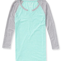 3/4 Sleeve Sheer Raglan Shirt