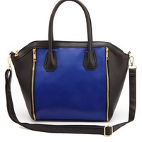 COLOR BLOCK ZIP FAUX LEATHER PURSE