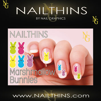 Marshmallow Bunnies NAILTHINS Nail art  Nail by NailGraphics