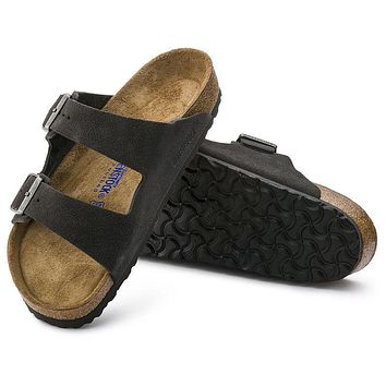Best Online Sale Birkenstock Arizona Soft Footbed Suede Leather Velvet Gray 0552321/05