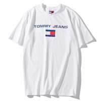 Tommy Summer New Fashion Bust Letter Stripe Print Women Men T-Shirt Top White