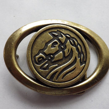Horse head Brass Belt Buckle Oval