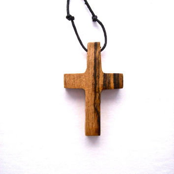 Wood Jewelry, Wooden Cross, Wood Pendant, Bocote Cross Pendant, Wood Carved Cross, Handmade Cross, Wooden Cross Pendant, Christian Jewelry