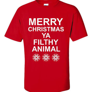 Merry Christmas You Filthy Animal Great Printed Holiday Shirt Fun Shirt for Youth Adults Womans Printed Home Alone Tee