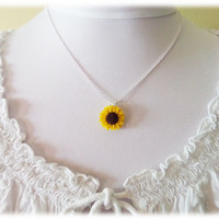 Sunflower  Necklace - Yellow Sunflower Jewelry, Sunflower Pendant, Sunflower Charm, Sunflower Wedding Jewelry