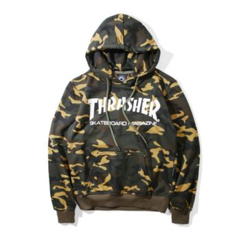 Thrasher Women Men Camo Sportswear Hoodie Sweater Pullover