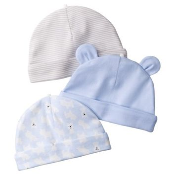 JUST ONE YOU® Made by Carters Newborn Boys' 3 Pack Caps - Grey/Blue