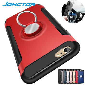 JOR Phone Cases for iPhone 6 6S 7 8 Plus Back Cover Magnetic Suction with Car Holder Metal Ring Hop Coque Case for iphone X Case