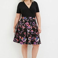 Plus Size Watercolor Floral Print Skirt