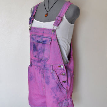 Dyed Bib OVERALLS  - Hand Dyed Fuchsia Pink SO Denim Overall Shorts - Boho Rocker Hipster - Size Large (36 waist)