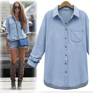 PEAPON Leisure loose lapel denim shirt