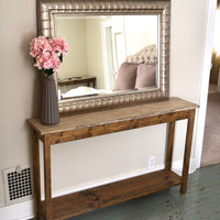 The Renee - Ivory Pine Sofa Table with Bottom Shelf