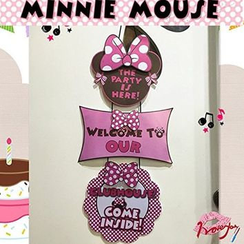 Minnie Mouse Birthday Party Welcome Hanger Door Poster by Alemon