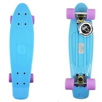 "22"" Pastel Blue Fish Skateboard Penny Shipping Retro Silver Truck Purple Wheel"