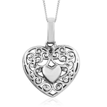 Sterling Silver Heart Pendant With Chain (20 in) (3.9g)