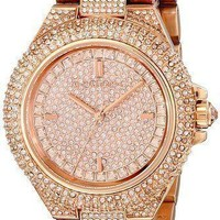 Michel Kors MK5862 Camille Rose Gold-Tone Crystal Pave Glitz Dial Women Watch