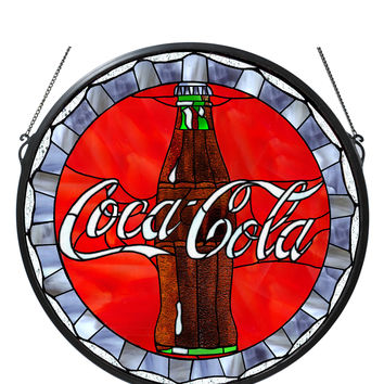 21 Inch W X 21 Inch H Coca-cola Bottle Cap Medallion Stained Glass Window