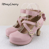 2016 New fashion women shoes lolita high heels desk leg bow single shoes women's cute shoes women pumps