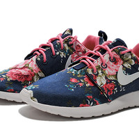 Nike Roshe Run Womens Print Floral Dark Blue Pink White Cool Shopping