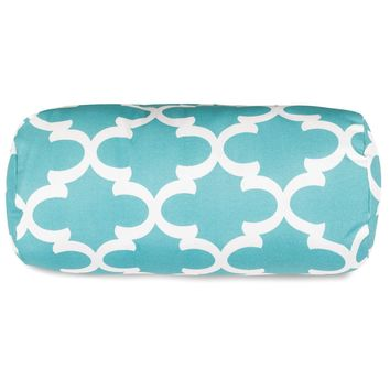 Teal Trellis Round Bolster Pillow