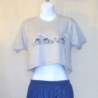 Vintage 80s BEACH BUNNIES GRAPHIC Funny Surf Adorable Ladies Small Medium Screen Stars 50/50 Half Belly T-Shirt