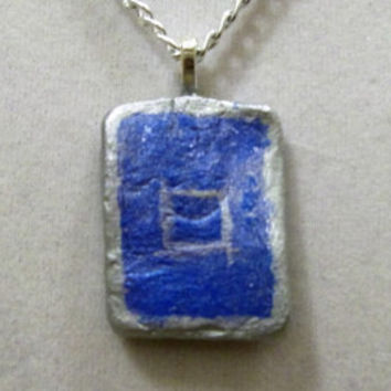 Silver and Blue Necklace, clay, rectangular, gray, pendant, rectangle, geometrical, jewellery, small, jewelry, ooak, unique, original, nice