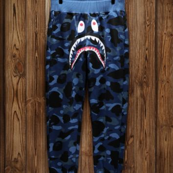 Bape shark camouflage shark trousers and guard pants with high quality 5 color camouflage BLUE