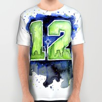 12th Man Seahawks Seattle Go Hawks Art All Over Print Shirt by Olechka