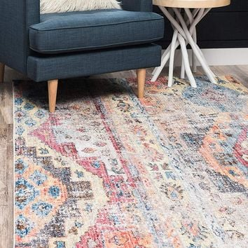 0174 Multi Color Bohemian Vintage Area Rugs