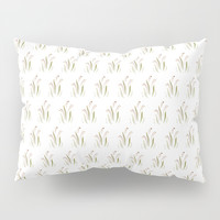 Brown watercolor flower sketch pattern on white. Pillow Sham by Siret