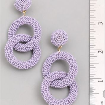 Euro Collection Beaded Double Hoop Earrings