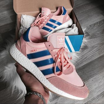 Adidas Iniki Runner Boost Pink/Blue Fashion Trending Running Sports Shoes Sneakers