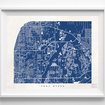 Florida, Fort Myers, Print, Map, FL, Poster, State, City, Street Map, Art, Decor, Town, Illustration, Room, Wall Art, Customize