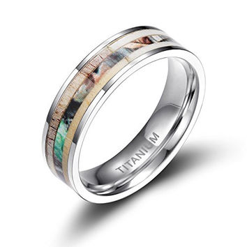 6mm Titanium Rings Deer Antler Camo Inlaid | FREE ENGRAVING