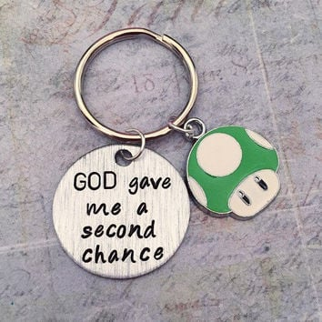 God Gave Me A Second Chance Keychain, One Up Keychain, Extra Life Keychain, Recovery Accessories, Survivor Accessories, God Accessories