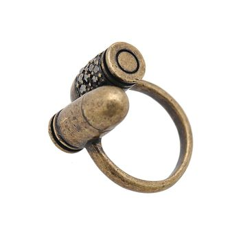 Antique Crystal Two Bullet Adjustable Ring