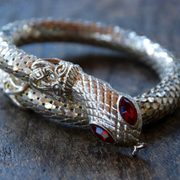Vintage Snake Bracelet Mesh Single Coil Silver Tone Whiting Davis Style Disco Boho Belly Dancing Gypsy 1980's // Vintage Costume Jewelry