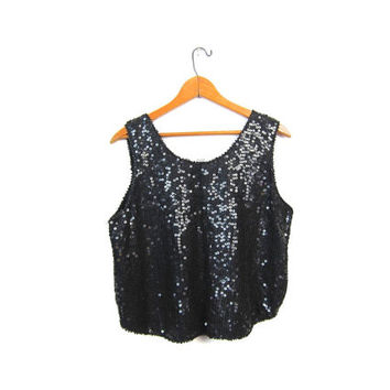 Black Sequins Tank Top 80s Cropped Disco Blouse Slouchy 80s Beaded Silk Party Shirt Womens 1980s Glam Tank Top Vintage Small