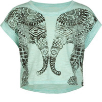 Full Tilt Mirrored Elephant Girls Tee Mint  In Sizes