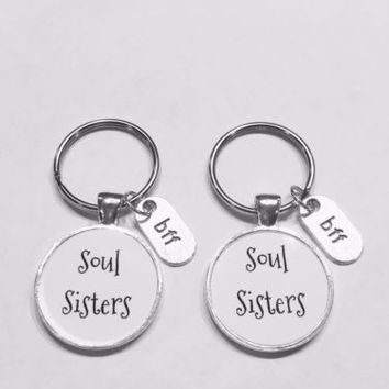 Soul Sisters BFF Gift Best Friend Friendship Partners In Crime Keychain Set