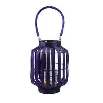 "20"" Tropicalia Deep Purple Cabana Tiki Bar Votive Candle Holder Lantern"