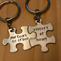 Hand Stamped Keychain - Partners in Crime - Sisters At Heart Keychains - Puzzle Pieces Best Friends Sisters