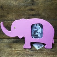 "Milano Pink Elephant Picture Frame fabric holds 2"" x 2.5"" photo"